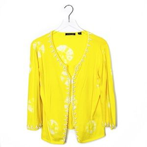 Michael Simon yellow bead embroidered cardigan